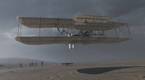 """The VR experience """"First"""" allows participants to experience the Wright brother's first successful flight attempt. Photo credit: MATTERvr"""