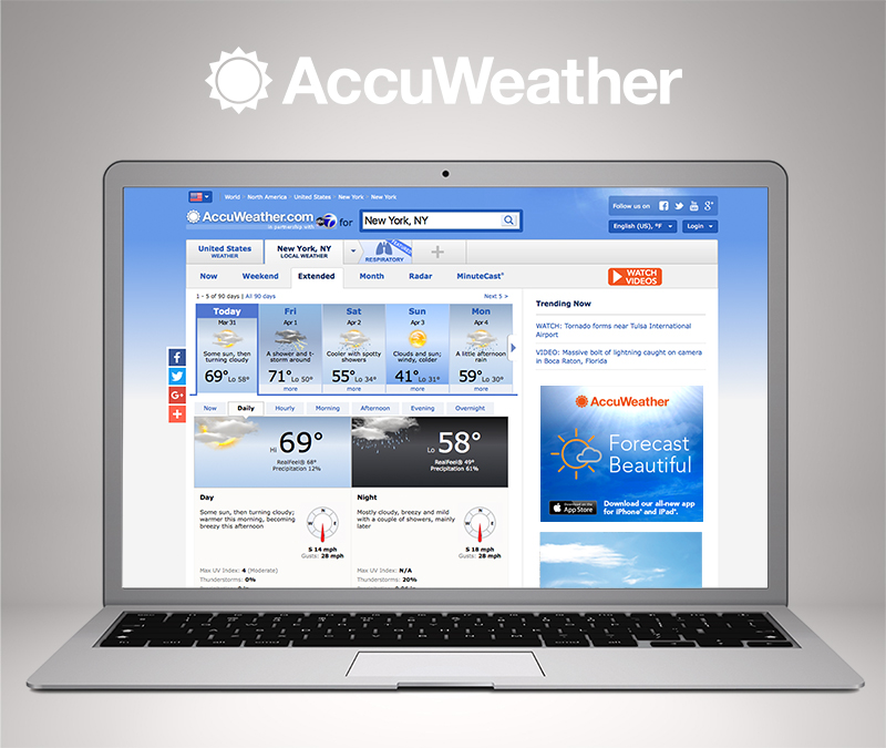 AccuWeather Launches Exclusive Day By Day 90-Day Forecast on